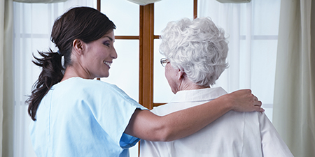 Alzheimer's and dementia care being offered by a caregiver